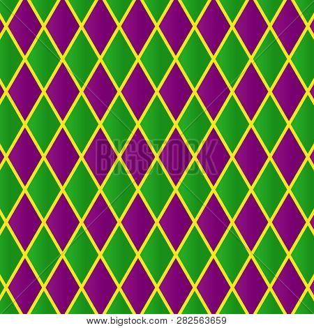 Mardi Gras Pattern. Geometric Tile For Carnival Festiva. Holidays Greeting Card, Web, Invitation, Pa