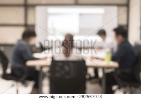 Blur Office Meeting Background Business People Working Group In Discussion Boardroom