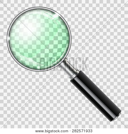 3d Magnifying Glass Loupe On Transparent Background. Realistic Magnifier. Isolated Vector Illustrati