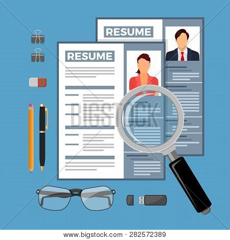 Employment, Recruitment And Hiring Concept. Job Agency Human Resources. Top View On Magnifier, Job S
