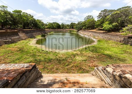 Anuradhapura, Sri Lanka - August 21, 2018: The Elephant Pond, Eth Pokuna In The Ancient City. Its Th