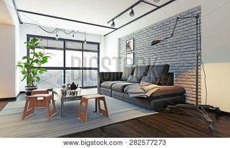modern loft interior living room. 3d rendering design concept
