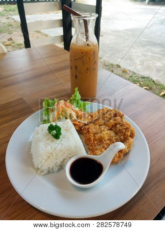 Tonkatsu Rice And Fried Pork Japanes Food In White Dish