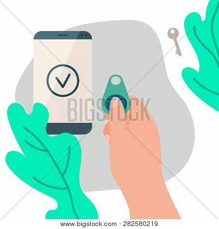 Woman Hand With Lost Key Finder And Phone Banner In Flat Style