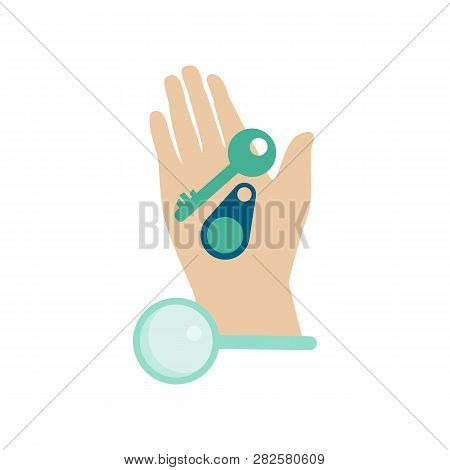 Man Hand With Lost Key Finder - Banner In Flat Style