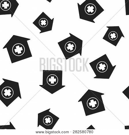 Hospital Building Seamless Pattern Background. Business Concept Vector Illustration. Infirmary Medic