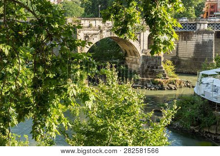 Rome, Italy - June 22, 2017: Panorama To Tiber River And Pons Aemilius In City Of Rome, Italy