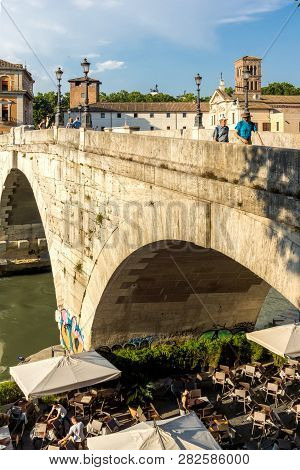 Rome, Italy - June 22, 2017: Panorama Of Tiber River And Pons Cestius In City Of Rome, Italy