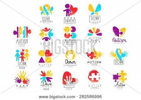 Vector Set Of Multi-colored Logo For Autism Awareness Day. Design For Postcards, Wellness Centers, O