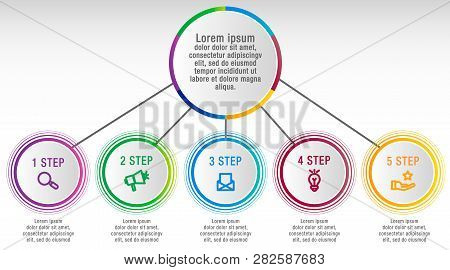 Modern Vector Illustration 3D Data Visualization. Infographic Circles Template With Five Elements, S
