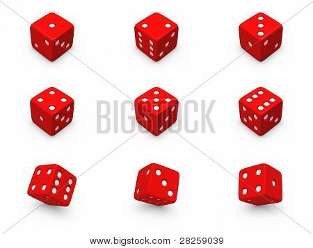 Red Dice From Different Angles