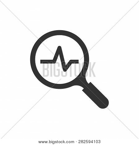 Magnifying Glass Icon With Pulse. Vector Illustration. Business Concept Loupe Analysis Pictogram.