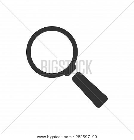 Magnifying Glass Vector Icon In Flat Style. Search Magnifier Illustration On White Isolated Backgrou