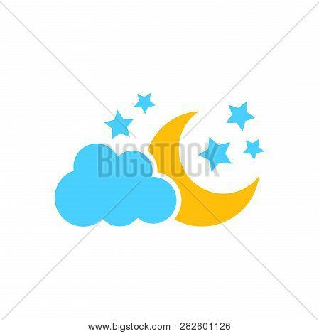 Moon And Stars With Clods Vector Icon In Flat Style. Nighttime Illustration On White Isolated Backgr