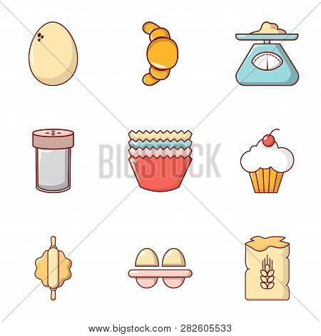 Rural Food Icons Set. Flat Set Of 9 Rural Food Icons For Web Isolated On White Background