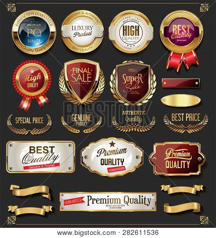 Collection Of Vintage Retro Premium Quality Golden Badges And Labels 3.eps