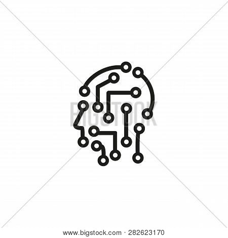 Ai Person Line Icon. Circuit Board, Profile, Neural Networks. Artificial Intelligence Concept. Can B