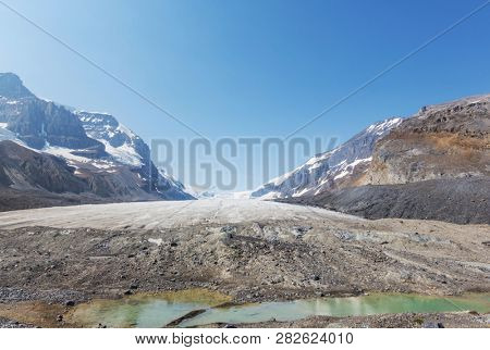 Athabasca glacier Columbia Icefields, Canada. Unusual natural landscapes.