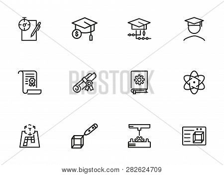 Science And Studying Icons. Set Of Line Icons On White Background. Bachelor, Diploma, Student. Educa