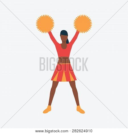 Cheerleader Flat Icon. Dark Skinned Girl, Student, Pompom. Sport Concept. Can Be Used For Topics Lik