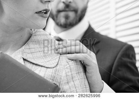 Man Touching Girl. Protection Female Rights. Sexual Harassment At Work.