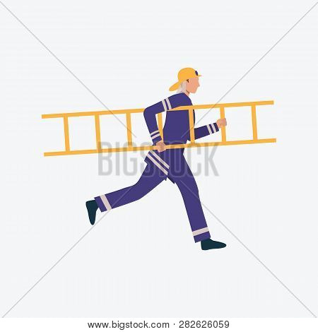 Young Firefighter Running With Ladder. Help, Danger, Rescue. Can Be Used For Topics Like Salvage, Br