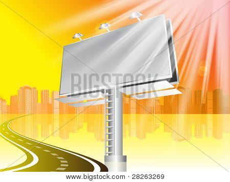 Billboard With Road And City