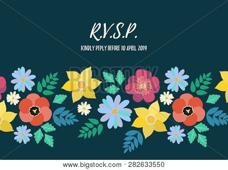 Modern Rvsp Style Wedding Invitation Card With Flat Flower Frame Background, Hand Drawn Floral Eleme