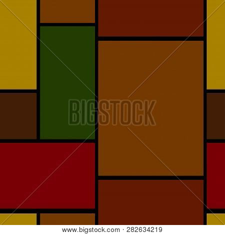 seamless geometric background with rectangles, colored rectangles on black background poster