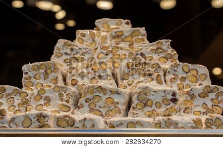 Turkish delight or lokum is a family of confections based on a gel of starch and sugar poster