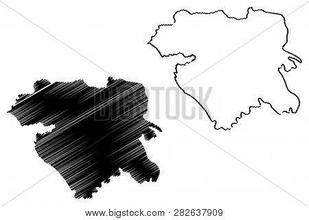 Kurdistan Province (provinces Of Iran, Islamic Republic Of Iran, Persia) Map Vector Illustration, Sc