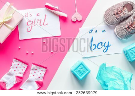 Birth Child Baby Shower Concept Boy Or Girl Top View