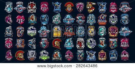 Collection Of Emblems Of Knights, Warriors, Animals. Soldiers, Bears, Horses, Wolves, Hawks And Eagl