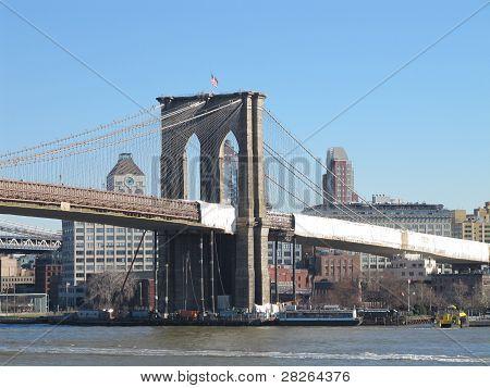 Brooklyn Bridge as seen from South Street Seaport