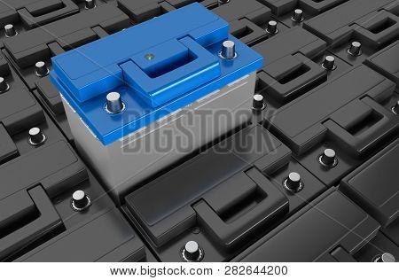 3d Rendering. Many Car Battery On Background. Acid Battery For Start Auto. 12v Battery