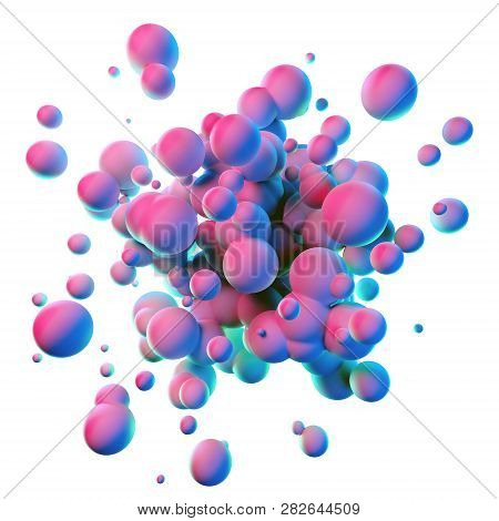 Colorful Splash Shapes Isolated On White Background
