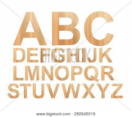 Vector Photo Realistic Illustration. Plywood Abc Isolated On White