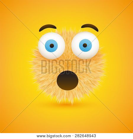 Surprised Face Emoji With Open Eyes - Furry Happy Emoticon On Yellow Background - Vector Design
