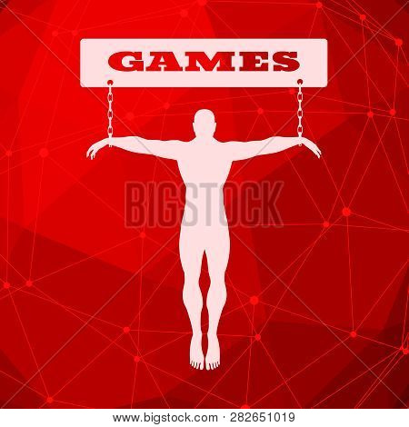 Man Chained To Games Word. Unhealth Addicition Metaphor. Molecule And Communication Background. Conn
