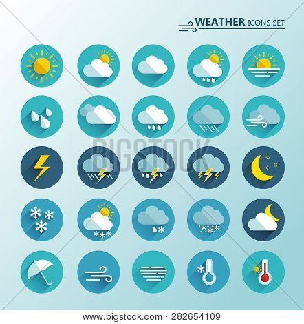 Weather Icons Set. Cartoon Colorfull Art Vector Illustrations. Sticky Symbols Of Forecast. Meteorolo