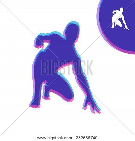 Athlete At Starting Position Ready To Start A Race. Runner Ready For Sports Exercise. Sport Symbol.