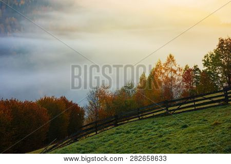 Rural Area In Mountains At Foggy Sunrise. Wonderful Autumn Scenery. Wooden Fence Along The Grassy Hi