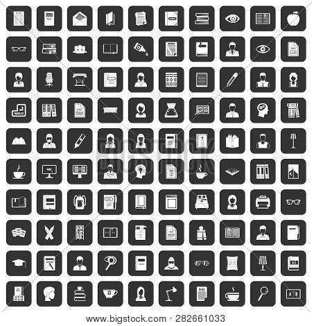 100 Reader Icons Set In Black Color Isolated Illustration