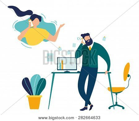 Phone Call From Office Flat Vector Concept. Businessman Talking With Woman On Phone, Employee Callin