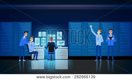 Datacenter Infrastructure. Hardware Engineer Support and Admininstration. Switchboard Workstation Equipment Communication. Software Project Engineer Character. Technician Protection. poster