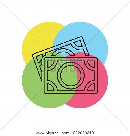Vector Dollars Sign, Money Dollars Icon - Currency Dollar Bill Symbol. Thin Line Pictogram - Outline