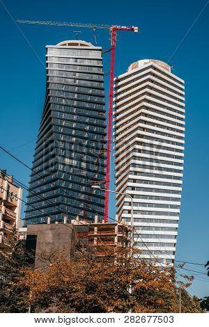 Tbilisi, Georgia - August 6, 2018: Facade Of A Modern Buiding In Tbilisi, Georgia.