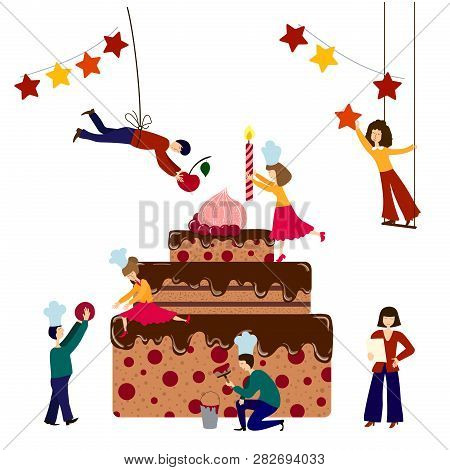 Wondrous Group Small People Vector Photo Free Trial Bigstock Birthday Cards Printable Benkemecafe Filternl