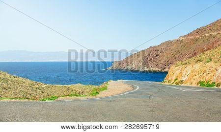 Asphalt Road On The Sea Coast Of Spain, Natural Park Of Cabo De Gato, Andalusia
