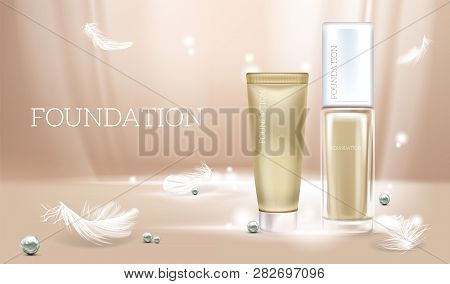 Vector 3d Realistic Illustration With Concealer. Beige Cosmetic Makeup Product In Glass Package And